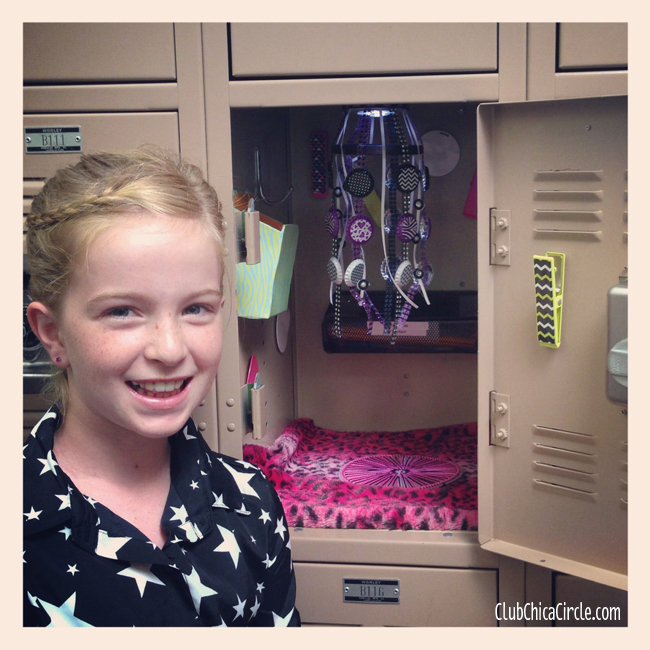 Tween's decorated locker with homemade crafts