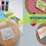 stenciled trivet cork bulletin board DIY