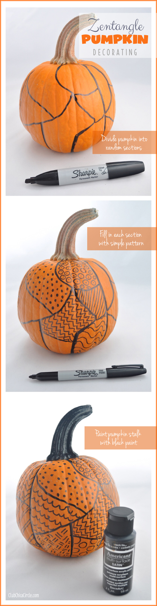 zentangle easy pumpkin decorating tutorial