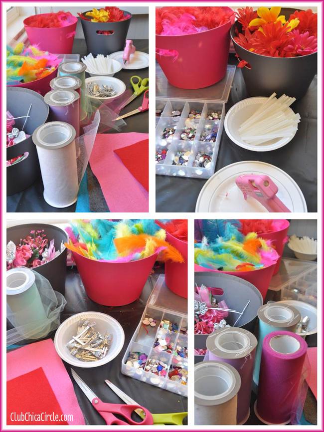 Fascinator station bridal shower craft table