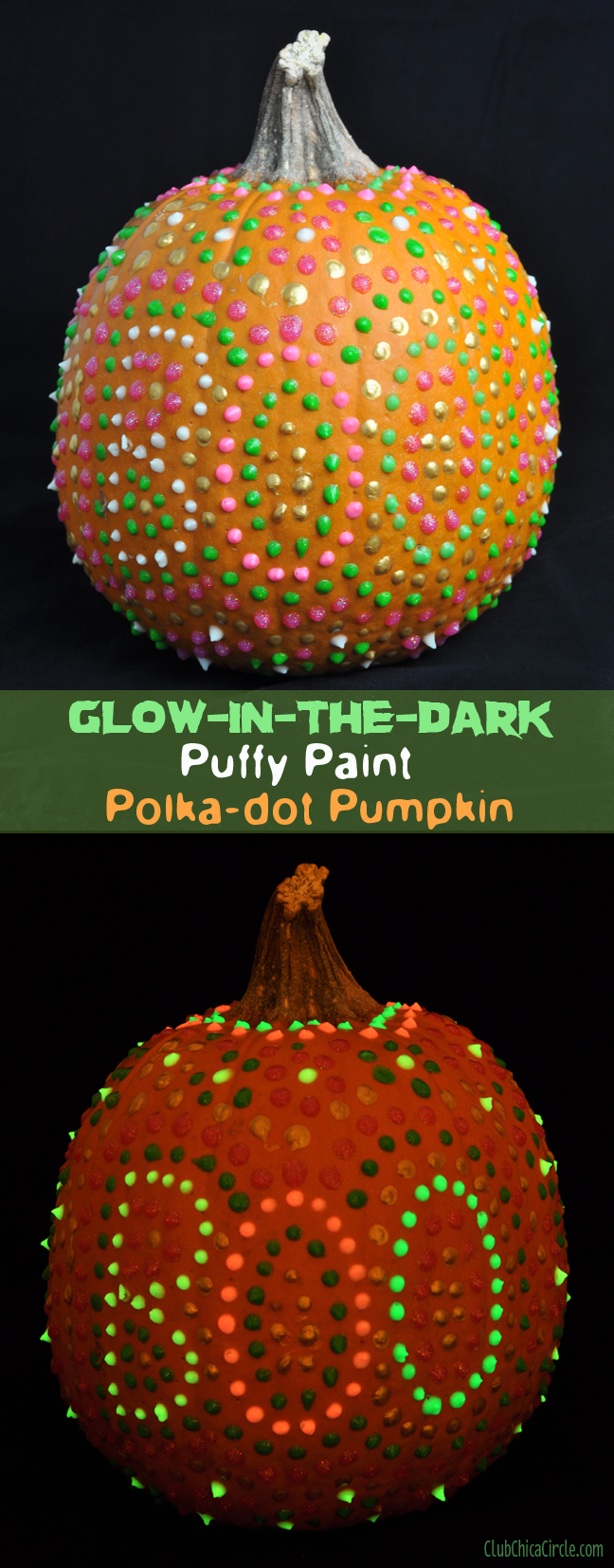 glow in the dark puffy paint polka dot pumpkin