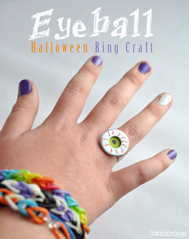 Homemade Halloween ring craft for tween girls