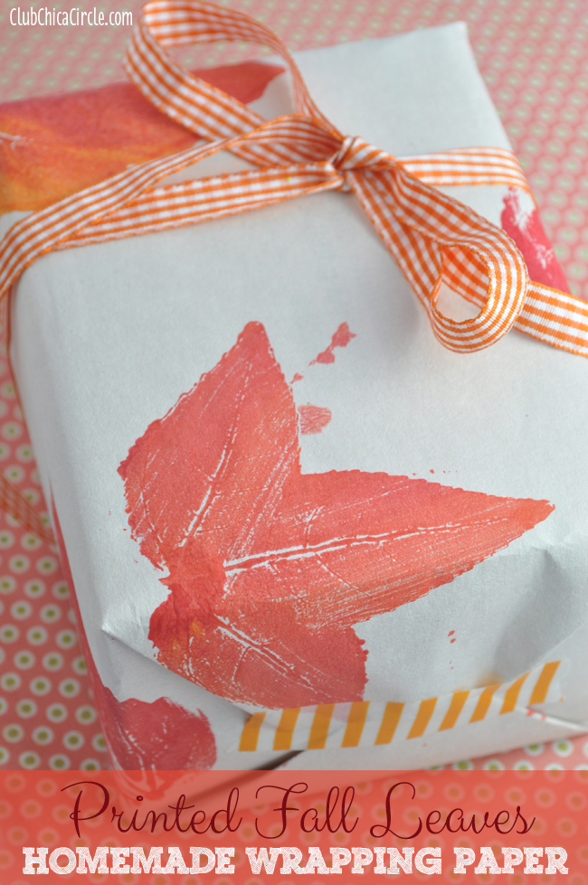 Printed Leaves Homemade Wrapping Paper Craft Idea