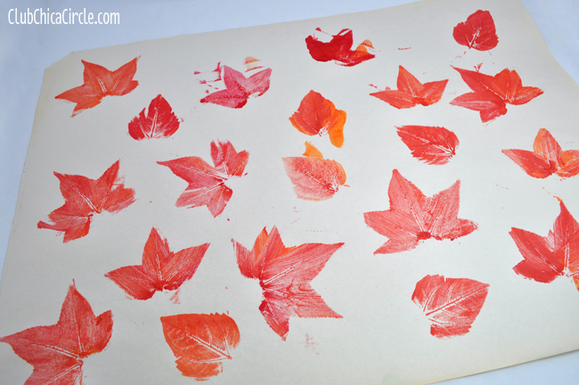 Printed Leaves on Newsprint for Homemade Gift Wrap
