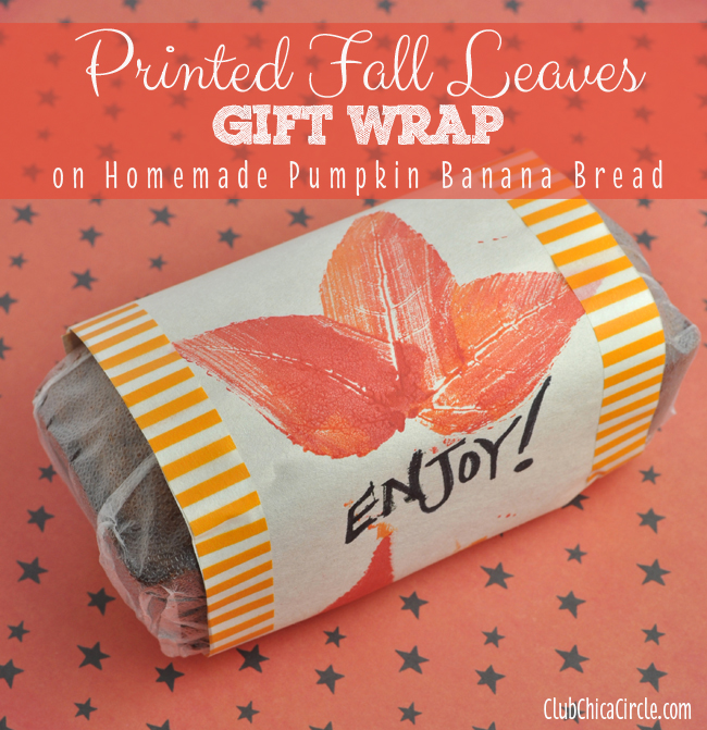 Pumpkin Banana Bread Gift with homemade gift wrap