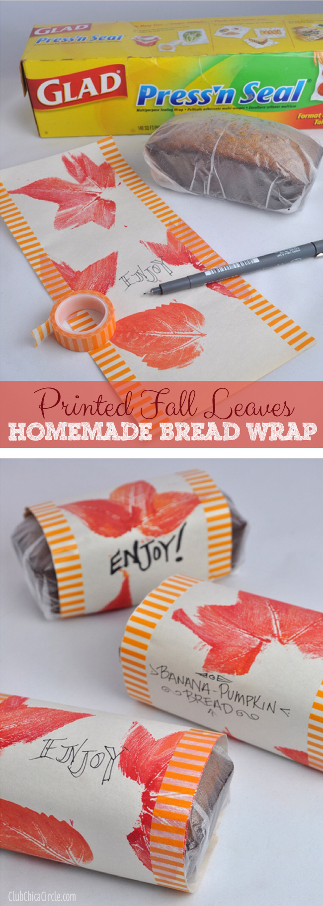 Pumpkin Banana Bread Homemade Fall Wrapping paper craft