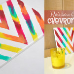 Rainbow Chevron Art Tile Home Decor Craft Idea