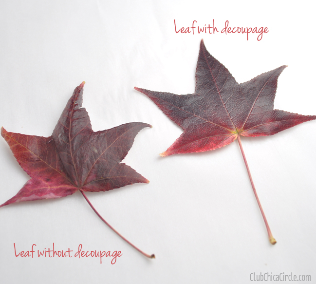 leaf with decoupage example