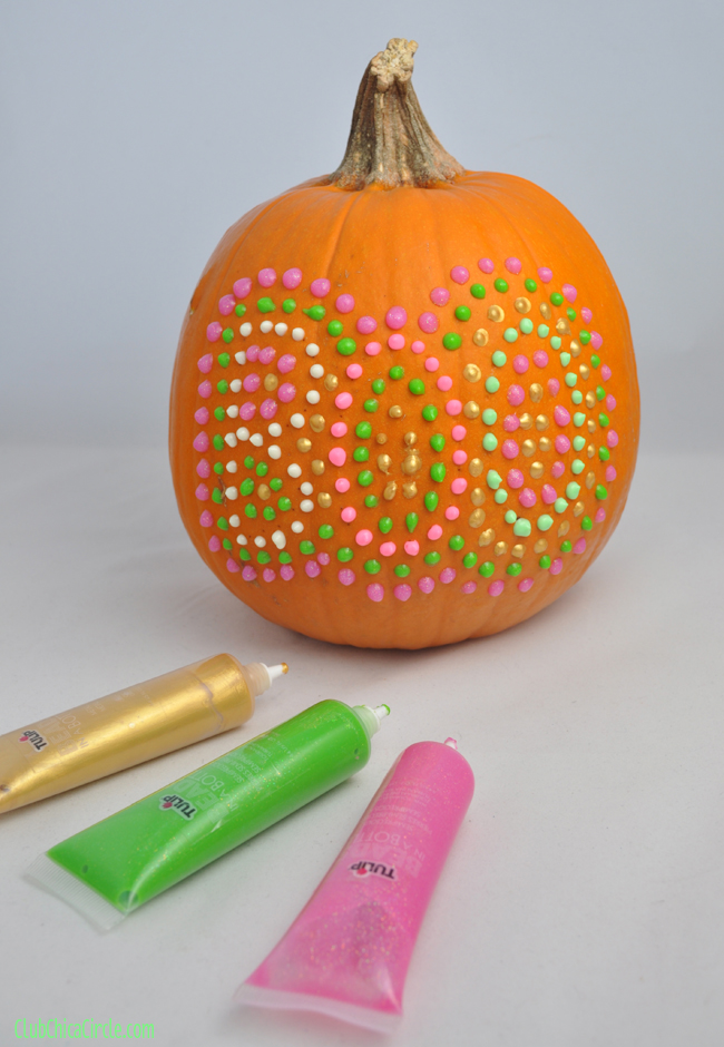puffy paint polks-dot decorated pumpkin