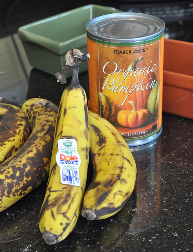 ripe bananas and pumpkin for bread