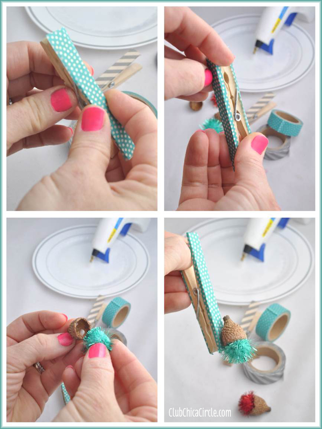Acorn Pom Pom Washi Tape Clothespin Craft Tutorial @clubchicacircle