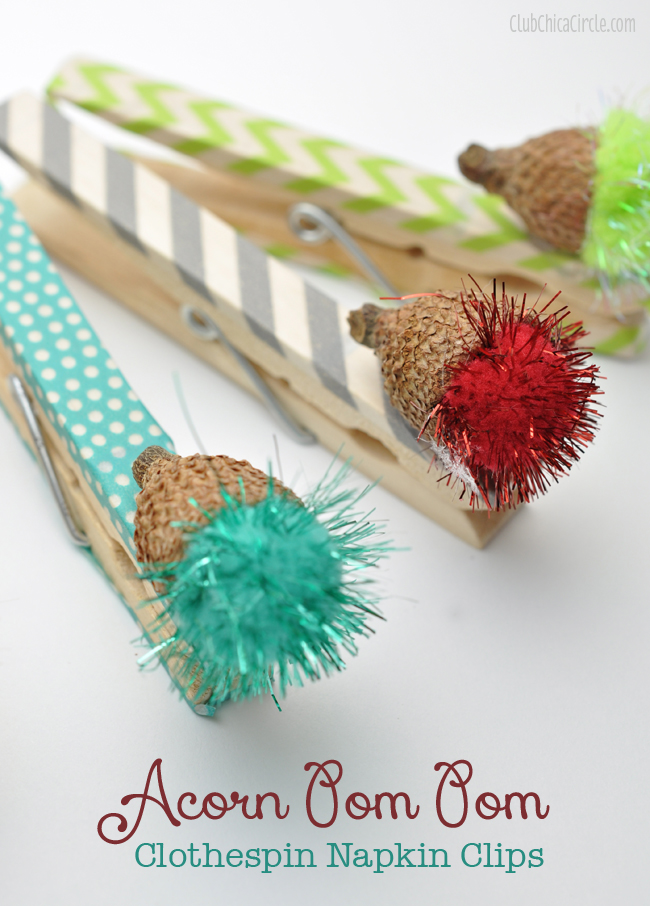 Acorn Pom Pom Washi Tape Clothespin craft idea