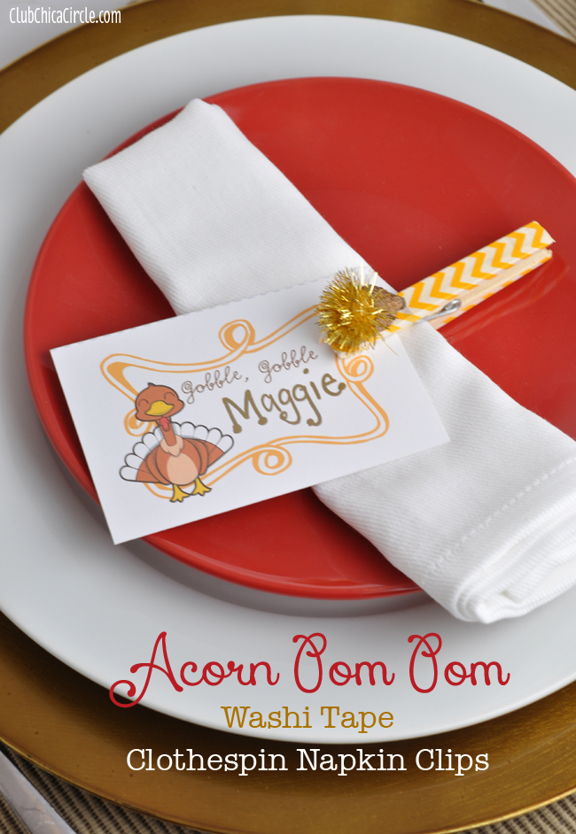 Acorn Pom Pom Washi Tape Thanksgiving Napkin Clip Craft