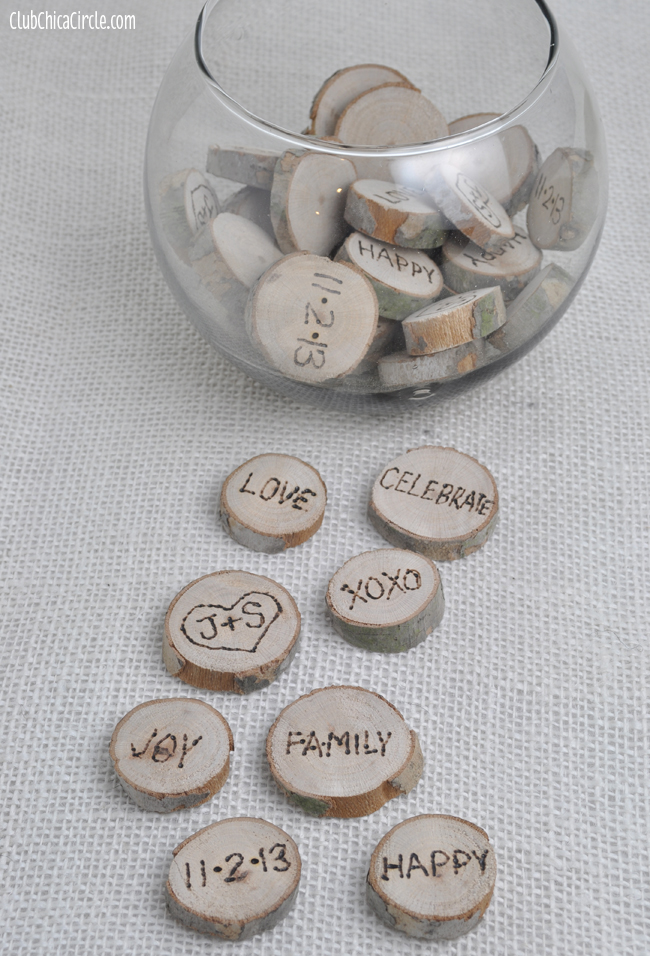 Burned Wood Pieces Craft for Nature Themed Wedding