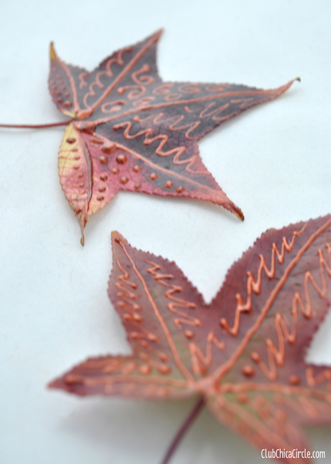Decorated Fall Leaves with Paper Effects and Decoupage