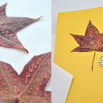 Fall Leaf Note Cards Nature craft idea with paper effects