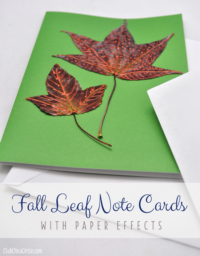 Fall Leaves Paper Effects Note Cards @clubchicacircle copy