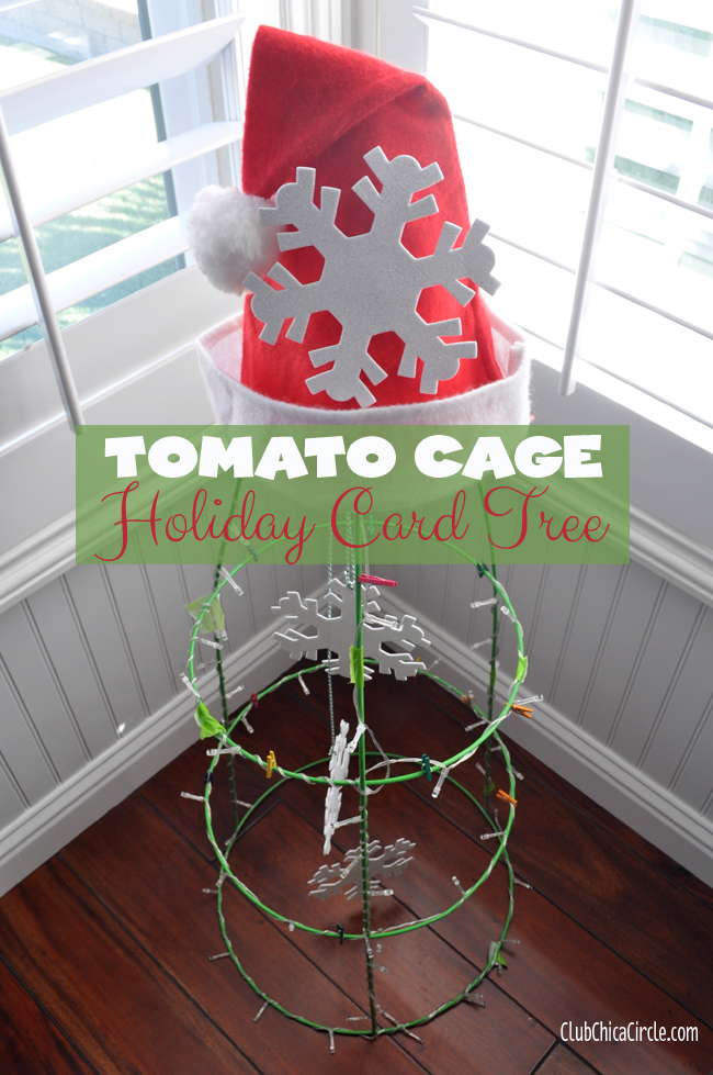 Holiday Card Tree made from Tomato Cage
