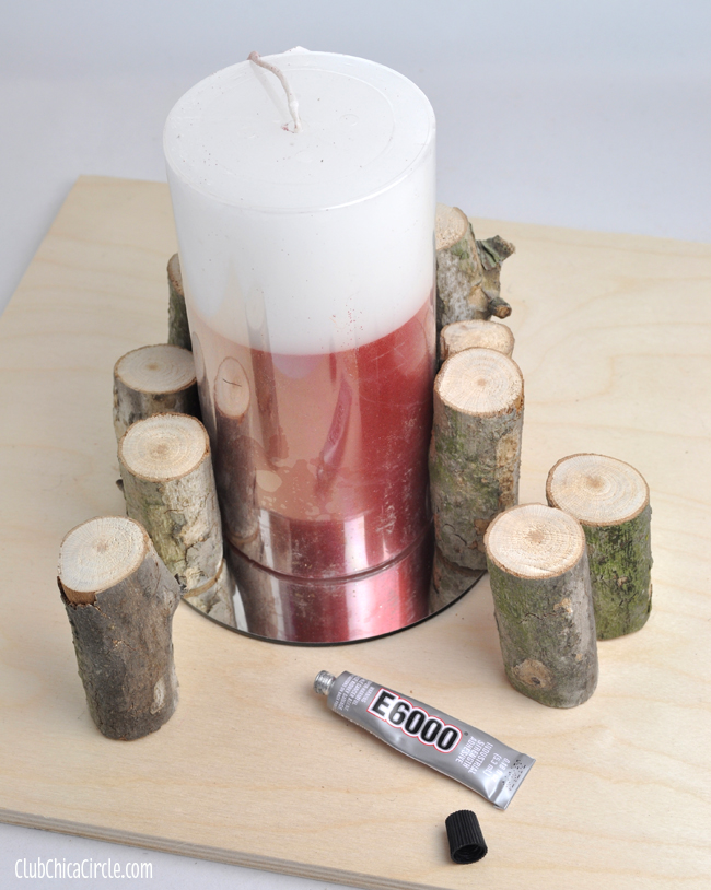 How to make a wood branch decorated candle @clubchicacircle