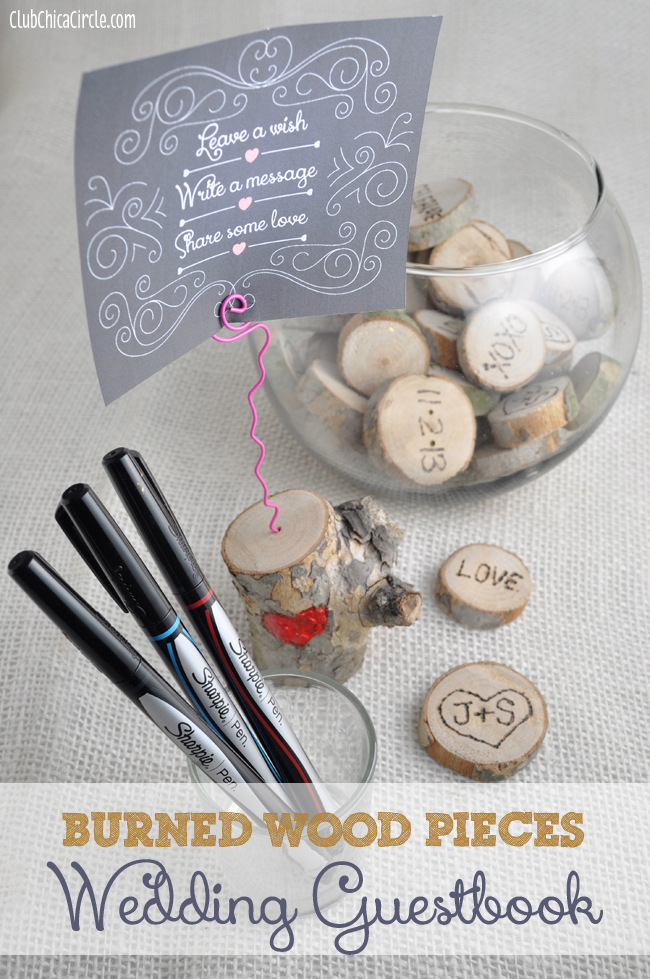 Interactive Crafty Burned Wood Pieces Wedding Guestbook