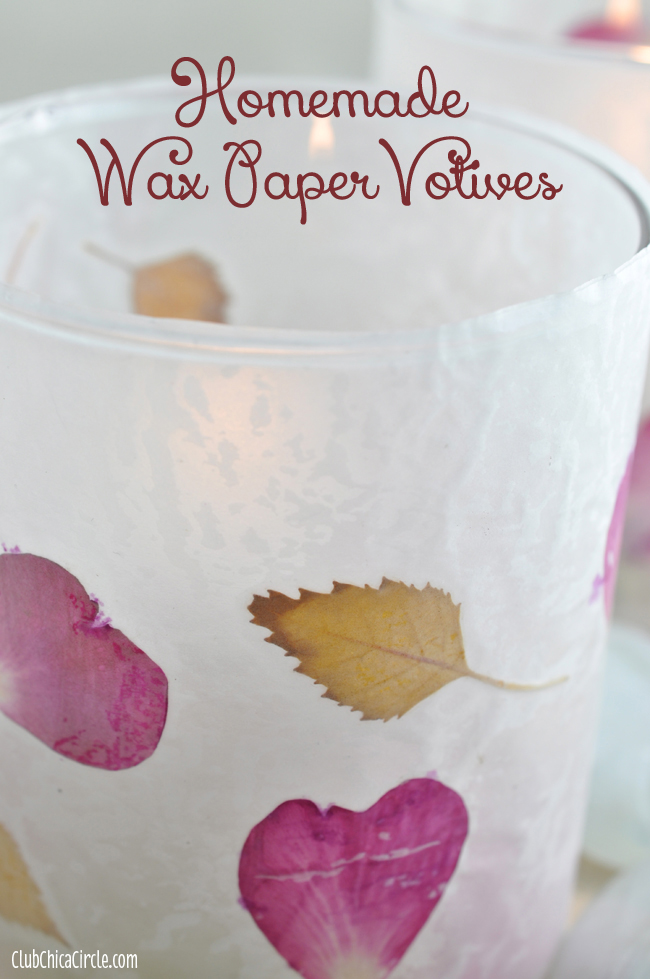 Leaf and Flower Petal Easy Wax Paper Votive craft