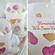 Leaf and Flower Petal Easy Wax Paper Votive tutorial