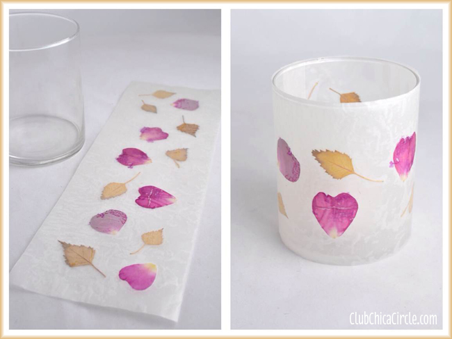 Leaf and flower petal nature wax paper votive candle holders for Diy candle crafts
