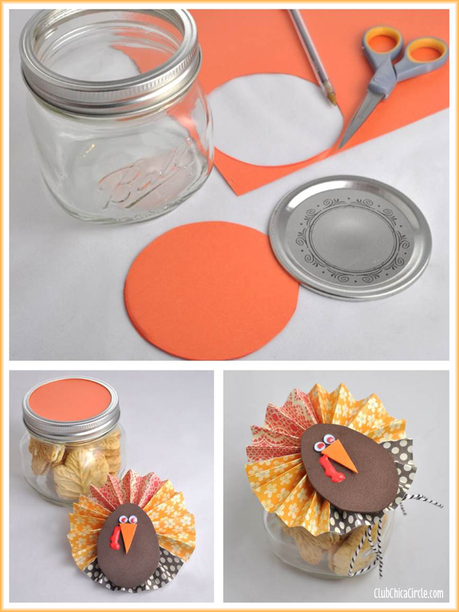 Thanksgiving Paper Flower Mason Jar Gift Idea | Club Chica Circle ...