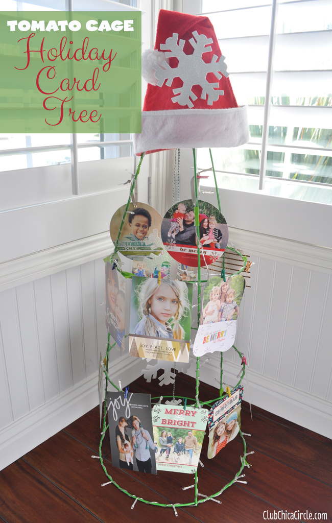 Tomato Cage Holiday Card Tree Holder