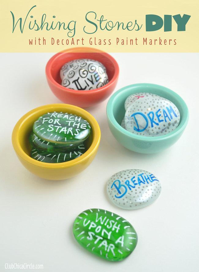 Wishing Stones DIY with DecoArt glass paint markers