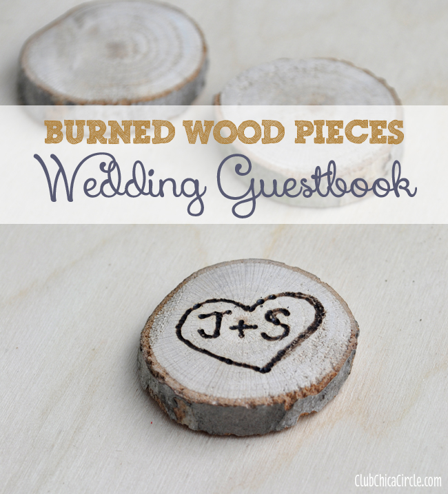 Wood burned pieces for interactive wedding guest book