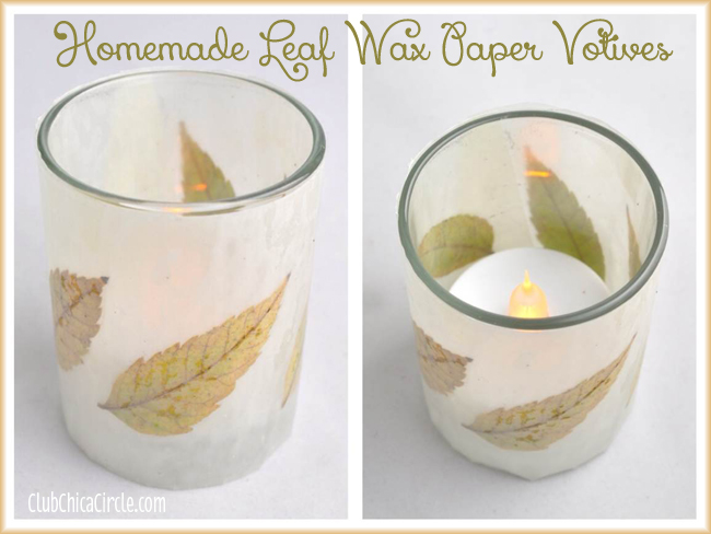homemade leaf wax paper votive craft