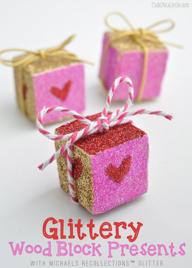 Glittery Wood Block Presents Craft Idea with Michaels Recollections
