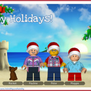 Happy Holidays Postcard with LEGO Minifigure family