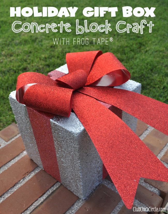 holiday gift box concrete block craft with frogtape