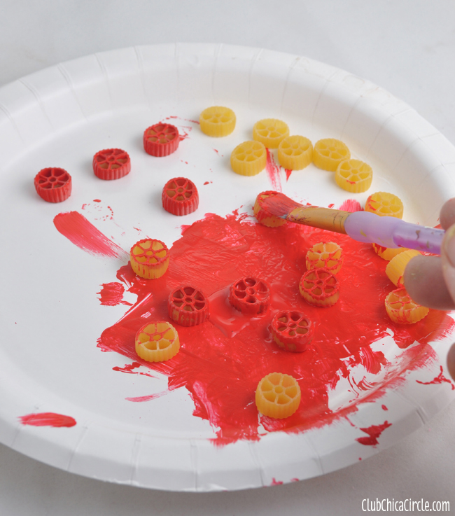 How to Paint Pasta for crafting with kids copy