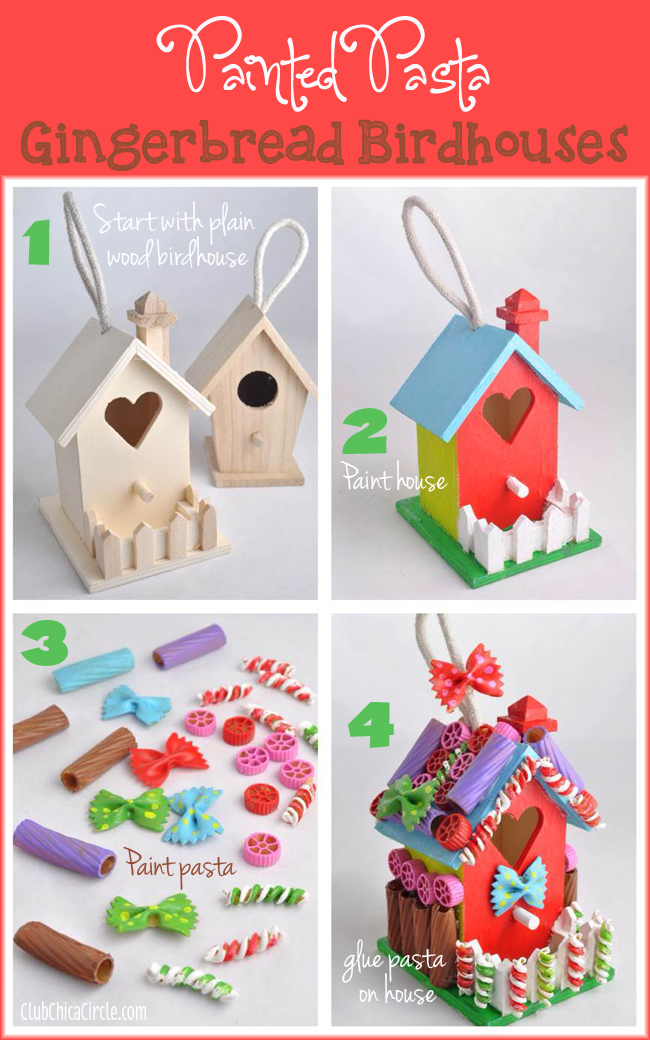 Painted Pasta Gingerbread Birdhouse Holiday Craft Idea