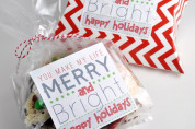 Merry & Bright Holiday Sticker Printable Gift Tags