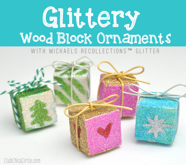 Glittery wood block ornaments with michaels recollections for Michaels crafts christmas ornaments