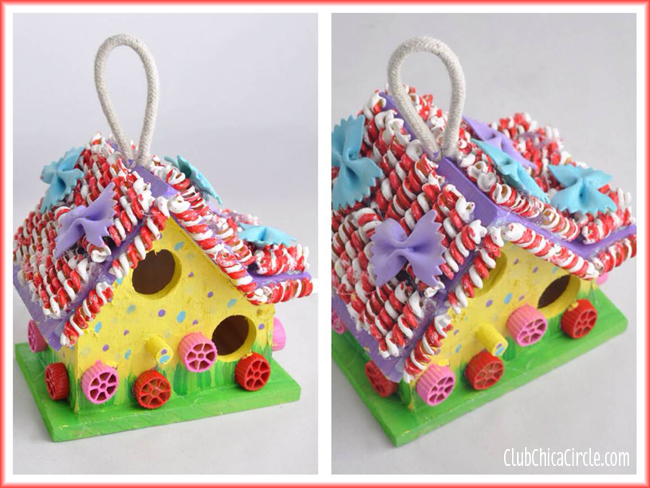 Painted Pasta Birdhouse Craft Idea for Kids