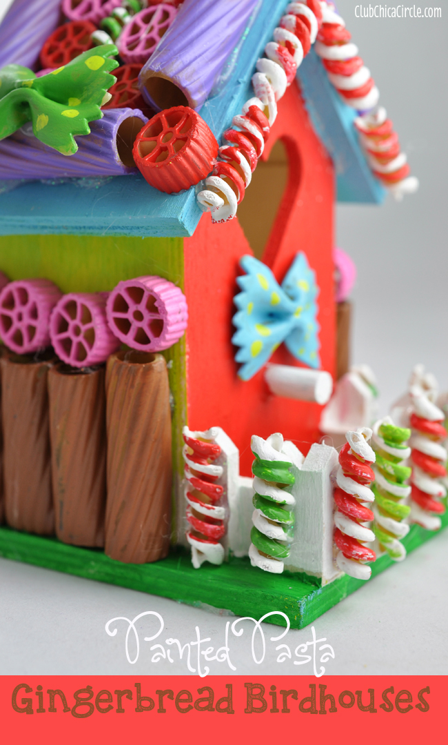 Painted Pasta Gingerbread House Craft Idea @clubchicacircle