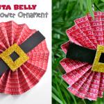 Santa Belly Paper Flower Ornament Craft DIY