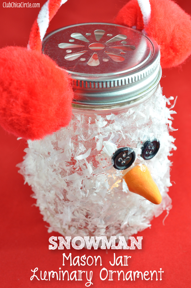 Snowman Mason Jar Luminary Ornament Craft idea