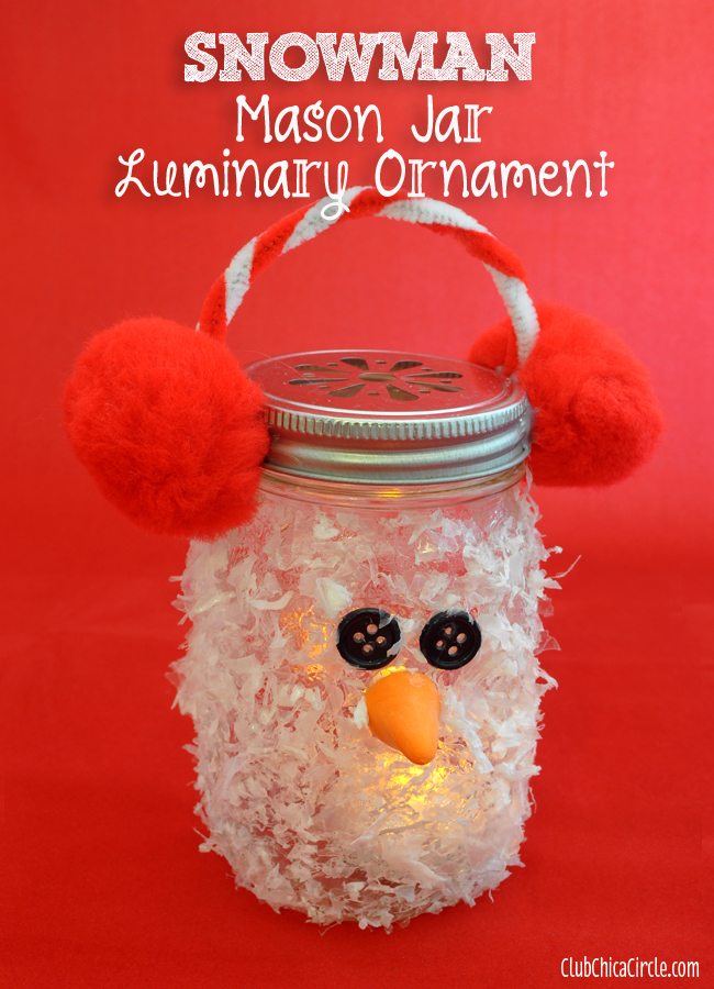 Snowman Mason Jar Luminary Ornament with DecoArt Decou-Page