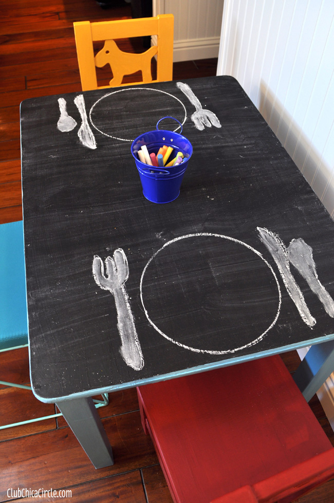 Americana Chalky Finish and Chalkboard Paint Play Table DIY copy