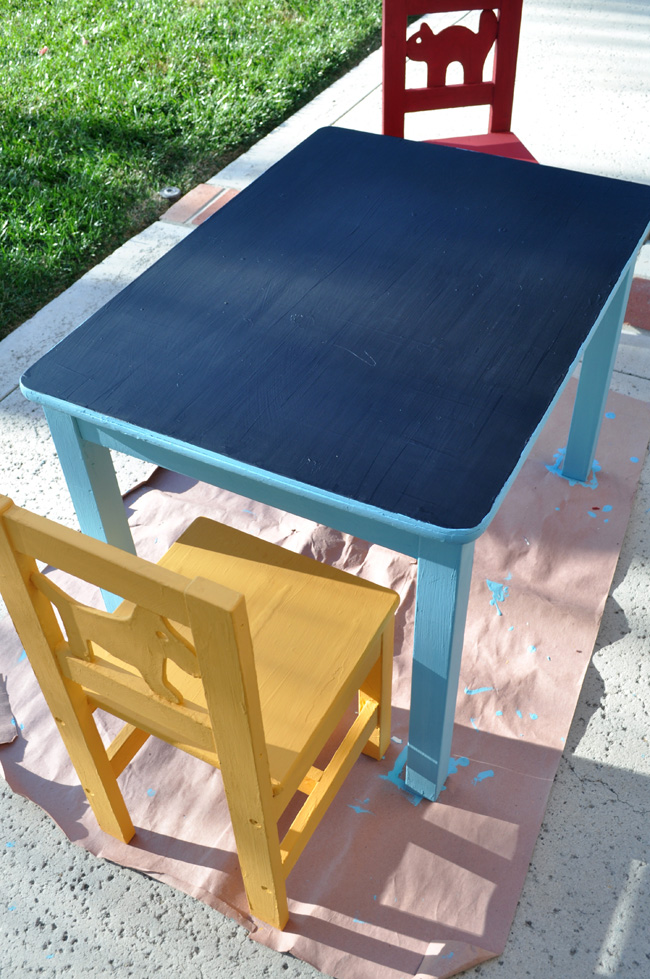 DIY chalkboard play table step 3