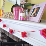 Heart Pom-pom garland on mantel