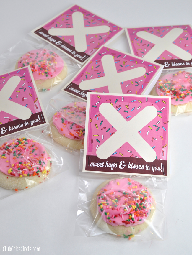 Hugs and Kisses Pink Frosted Cookies Classroom Treat