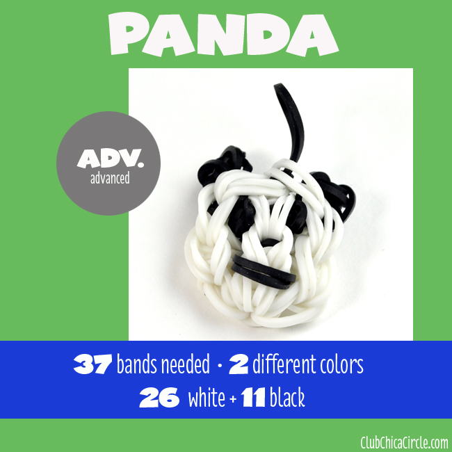 Rainbow Loom Advanced Panda Charm chart