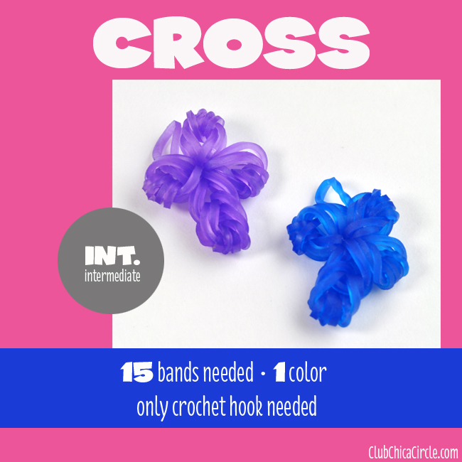 Rainbow Loom Cross Charm chart